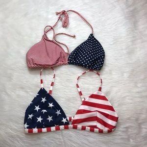 Stars and Stripes Bikini Top Lot of 2 Small